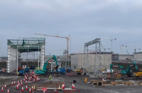 View of Shurton Substation construction with cranes